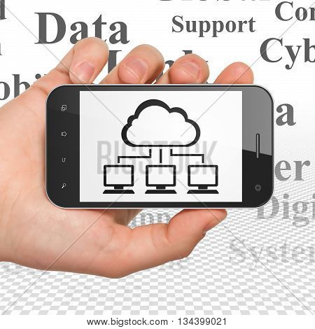 Cloud networking concept: Hand Holding Smartphone with  black Cloud Network icon on display,  Tag Cloud background, 3D rendering