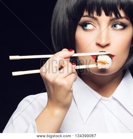 Gluttonous woman with blue eyes eating sushi vintage style