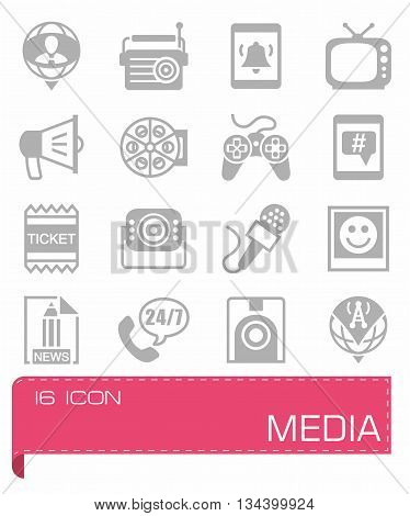 Vector Media icon set on grey background