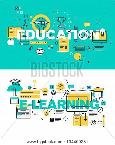 Set of modern vector illustration concepts of words education and e-learning. Thin line flat design banners for website and mobile website, easy to use and highly customizable.
