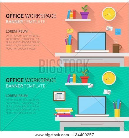 Flat design vector horizontal banners of modern office interior. Creative cartoon workspace with computer notes folders books plants mug calendar clock. Minimalistic style and color