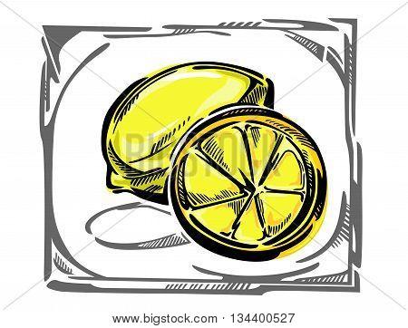 Stylized vector illustration of a lemon. A piece of lemon, whole lemon, in a gray curvy frame.