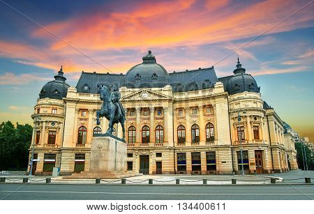 Bucharest / Bucuresti at Sunset. Calea Victoriei, National Library