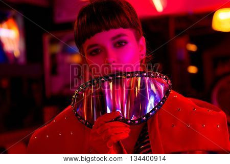 Beautiful model, brunette, hairstyle, make up, fashion, style, cool clothes, evening party eat dance sushi burger pasta grill neon