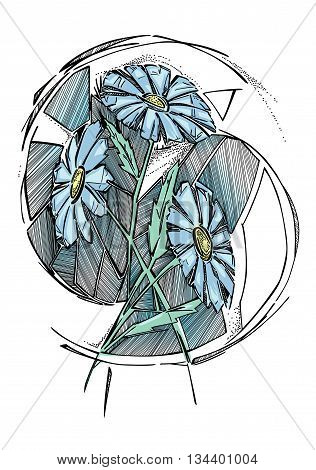 A stylized vector illlustration of daisy bouquet. Three flowers with leaves, and repetitive strokes around them.