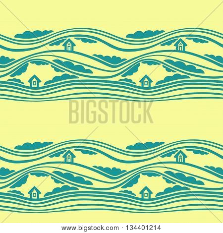 A seamless vector pattern with stylized little houses, clouds, and curvy lines.
