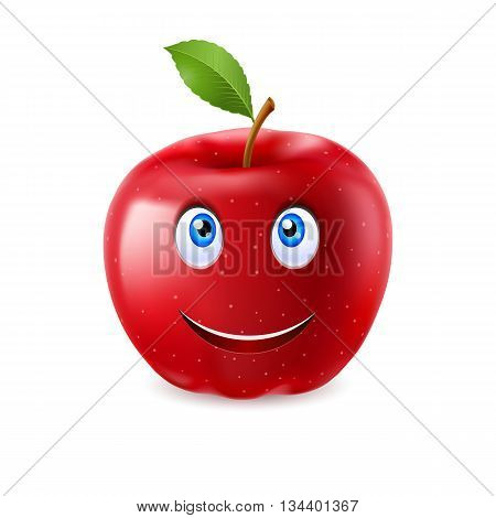 Red cartoon apple with a single leaf and happy smiling face