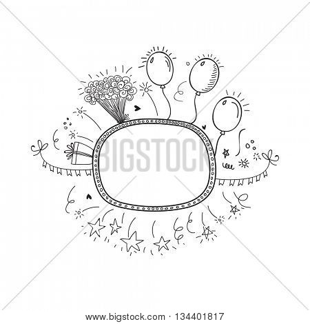 Creative hand drawn doodle party frame decorated with balloons, bouquet and confetti, Black and white illustration on white background.
