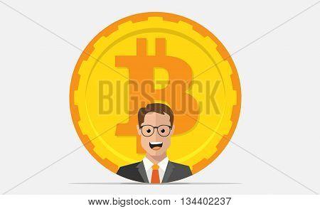 Bitcoin mining equipment. Digital Bitcoin. Golden coin with Bitcoin symbol and man.