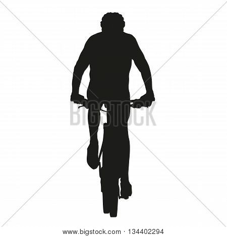 Isolated vector mountain biker silhouette, cycling, cyclist