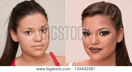 Teenage girl before and after applying make-up and hairstyling