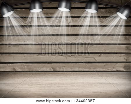 Illuminated empty concert stage with white light. 3D illustration