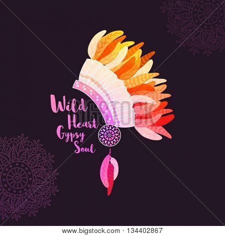 Creative War Bonnet with colorful feathers on floral decorated background, Beautiful Headdress, Hand drawn boho style vector illustration.