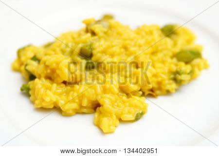 Risotto with saffron and asparagus, close-up