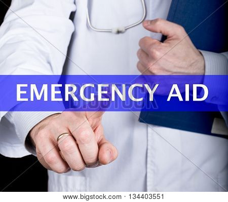 technology, internet and networking in medicine concept - medical doctor presses emergency aid button on virtual screens. Internet technologies in medicine and tourism.