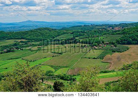 Tuscany at springtime, wide angle shot