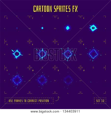 Energy explosion sprites or animation frames icons. Use in game development, mobile games or motion graphic. Vector illustration.