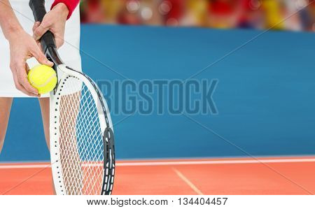 Athlete holding a tennis racquet ready to serve against digitally generated image of tracks