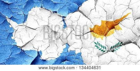 antarctica flag with Cyprus flag on a grunge cracked wall