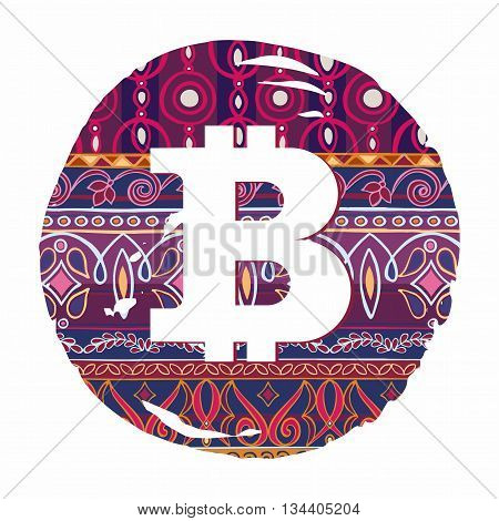 Bitcoin Symbol  On Decorative Background With Otooman Motifs
