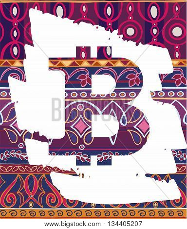 Bitcoin Symbol  On Decorative Background With Ottoman Motifs