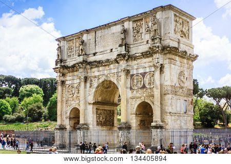 Rome, Italy - April 23, 2016: Constantine Arch in Coliseum Square (Piazza del Colosseo) in Rome (Italy), on April 23, 2016.