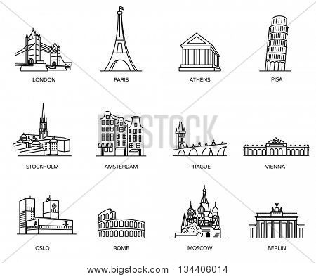 Europe landmarks and favorite travel places icons.