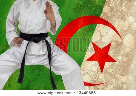Fighter performing karate stance against algeria flag in grunge effect