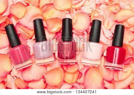 Five Shiny nail polish on rose petals