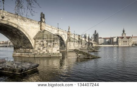 Charles Bridge over Vltava river in Prague Czech Republic