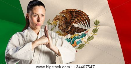 Female fighter performing hand salute against digitally generated mexico national flag