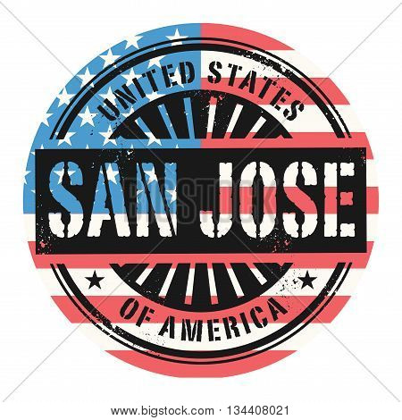 Grunge rubber stamp with the text United States of America, San Jose, vector illustration