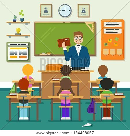 School classroom with schoolchild, pupils and teachers. Vector flat illustration. Classroom education, schoolchild classroom,  lesson classroom