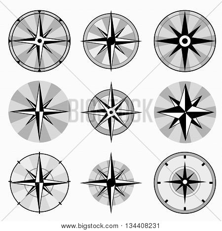 wind rose collection of monochrome icons vector illustration abstract high quality