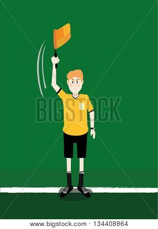 vector illustatration cartoon of soccer assistant referee linesman flag off side signals in action