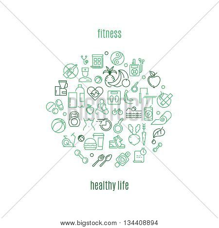 Logo vector template in linear style for gyms and fitness clubs. Healthy life logo, fitness healthy logo, fitness gym logo healthy life illustration