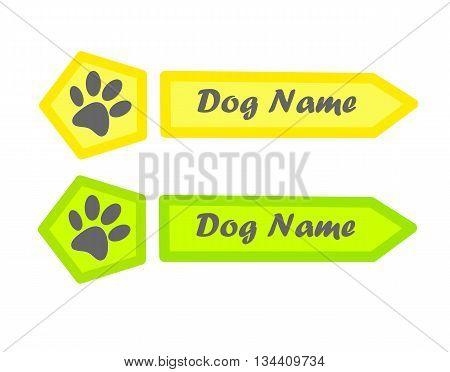Identity tag for dog - vector illustration.