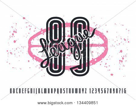 Narrow sanserif font and numbers with contour. Graphic design for t-shirt. Print on white background
