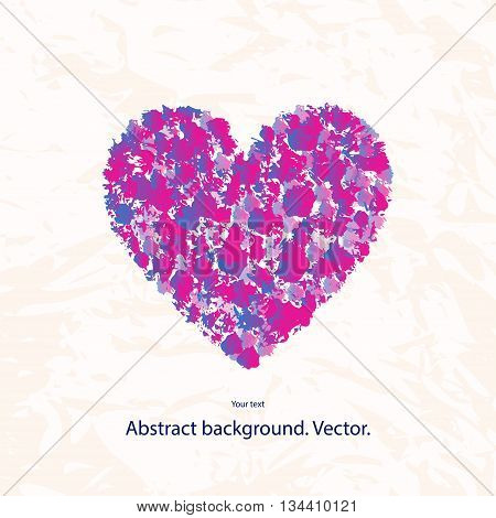 Vector illustration of a grunge heart with a pattern on a light background