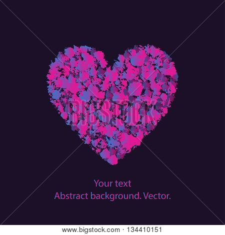 Vector illustration of a grunge heart with a pattern on a dark background