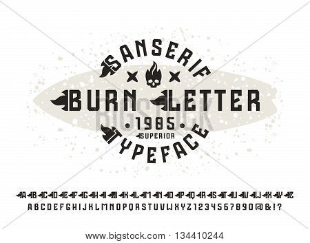 Sanserif font with flame initial letter. Typeface design for t-shirt. Black font on light background