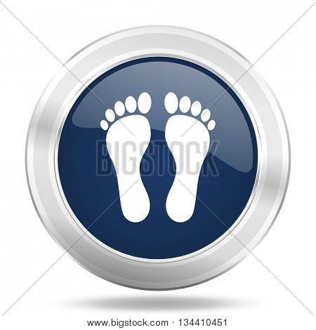 foot icon, dark blue round metallic internet button, web and mobile app illustration