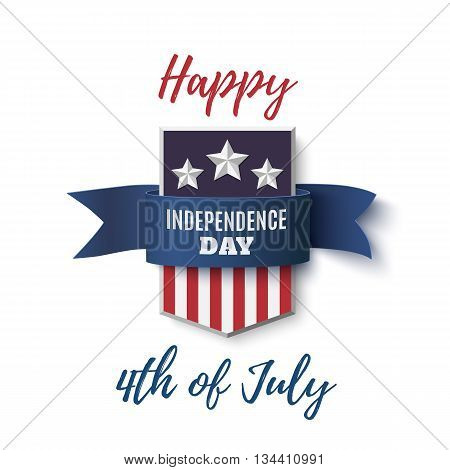Independence Day. Happy 4th of July background template. Badge with blue ribbon isolated on white . Vector illustration.