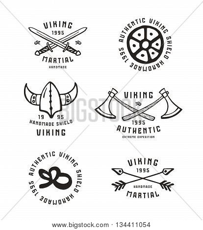 Viking emblems in hand-drawn style. Graphic design for t-shirt. Isolated on white background