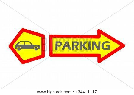 Car parking tag with car - vector illustration.