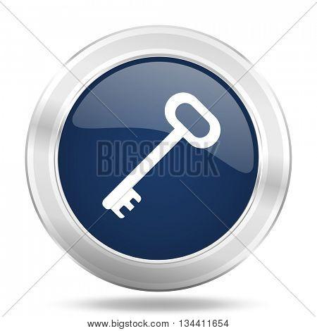 key icon, dark blue round metallic internet button, web and mobile app illustration