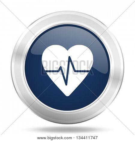 pulse icon, dark blue round metallic internet button, web and mobile app illustration