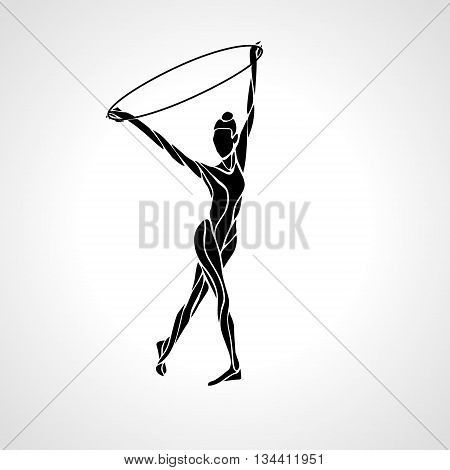 Rhythmic Art Gymnastics with Hoop black Silhouette on white background. Vector illustration. eps 8