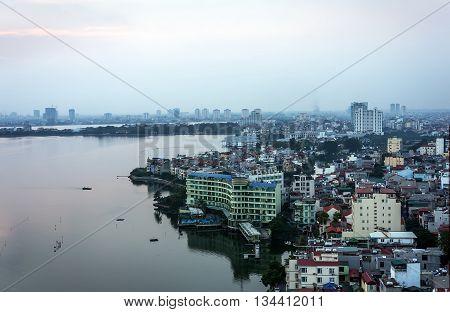 HA NOI, VIET NAM, April 30, 2016 urban area in Ha Noi, West Lake Area
