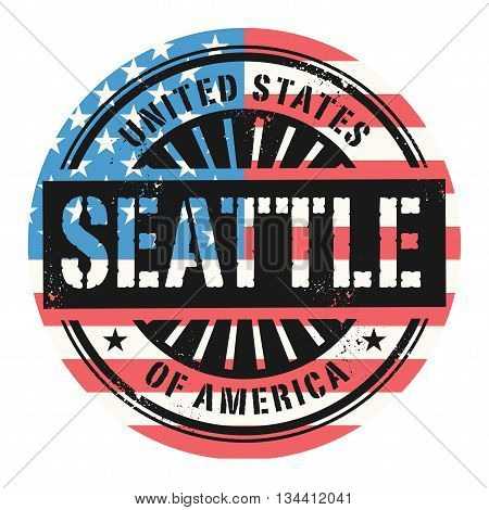 Grunge rubber stamp with the text United States of America, Seattle, vector illustration